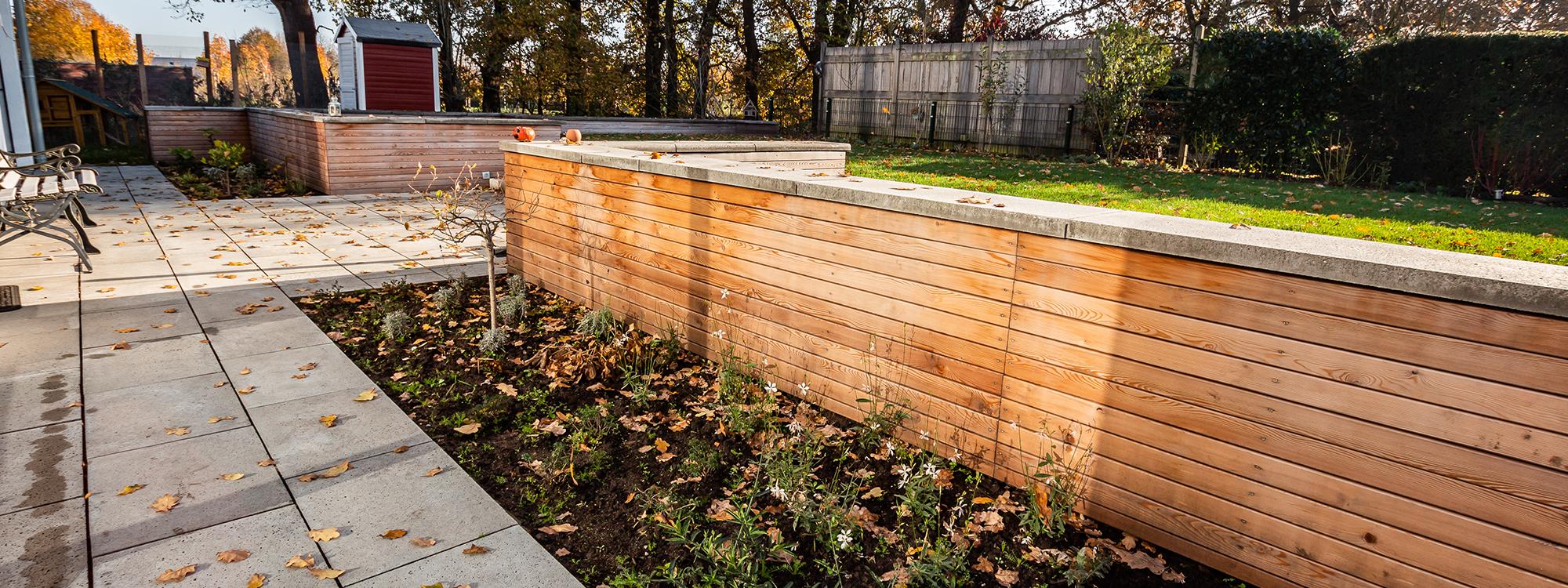 Garten und Landschaftsbau Bocholt Innovatio Mauer aus Holz Ebenen Garten